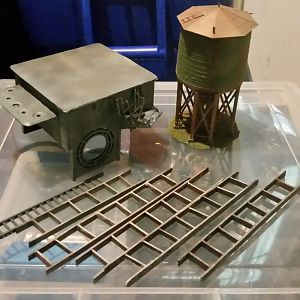 misc 8  ladders, ho scale water tower and more electrical box stuff